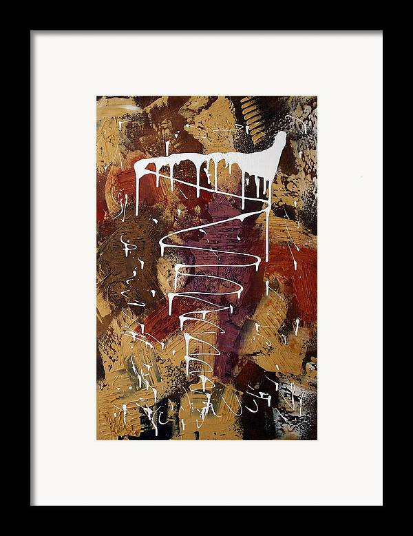 Earth Tone Abstract Framed Print featuring the painting The Painter's Keys by Laura Barbosa