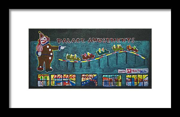 Asbury Park Framed Print featuring the painting The Palace Clown at Night by Patricia Arroyo