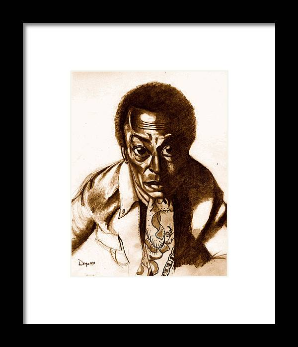 Miles Davis Framed Print featuring the drawing The Pan Piper by Dallas Roquemore
