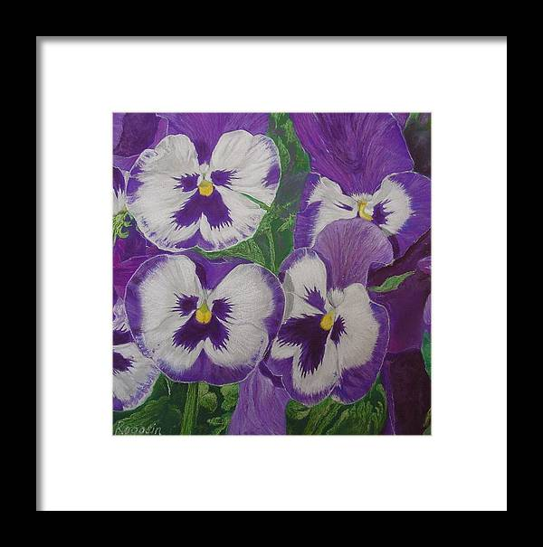 Still Life Framed Print featuring the pastel The Pansy Brothers by Harvey Rogosin
