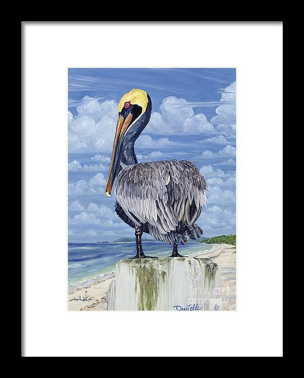 Seascape Framed Print featuring the painting Pelican Perch by Danielle Perry