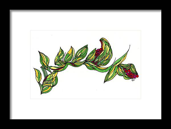 Organic Framed Print featuring the drawing The Perfect Weave by Kate Collver