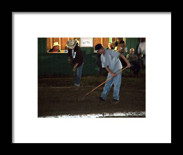 Men Framed Print featuring the painting The Pit Crew by RC DeWinter