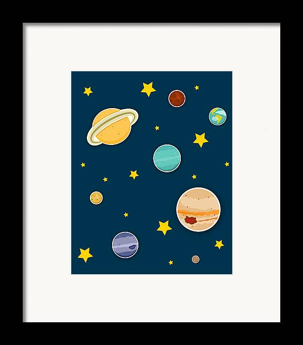 Planets Framed Print featuring the digital art The Planets by Christy Beckwith