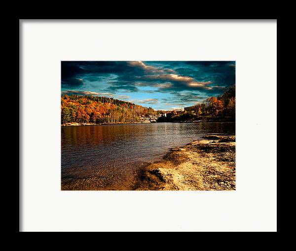 Clouds Framed Print featuring the photograph The Pool Below Upper Falls Rumford Maine by Bob Orsillo