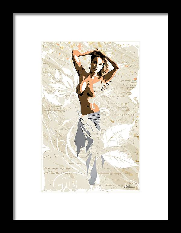 Nude Framed Print featuring the digital art The Pose 2 by Paul Miners