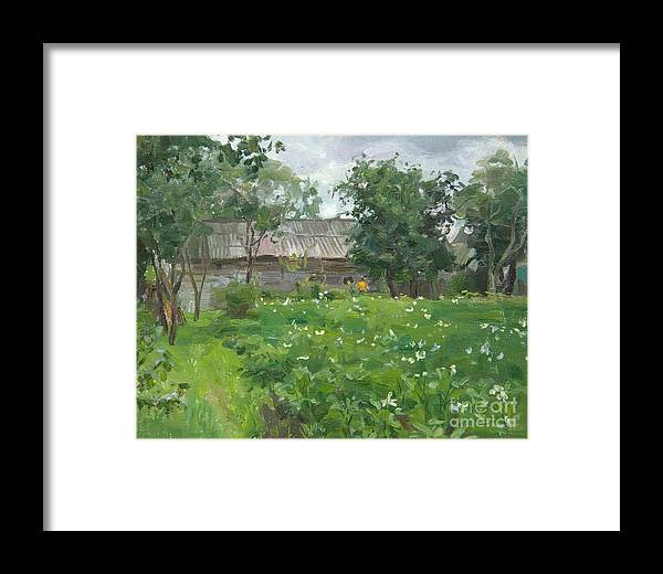 Village Framed Print featuring the painting The Potato In Blossom by Victoria Kharchenko