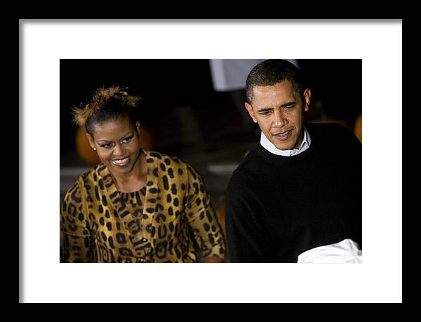 Barack Obama Framed Print featuring the photograph The President And First Lady by JP Tripp