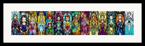 Princess Framed Print featuring the digital art The Princesses by Mandie Manzano