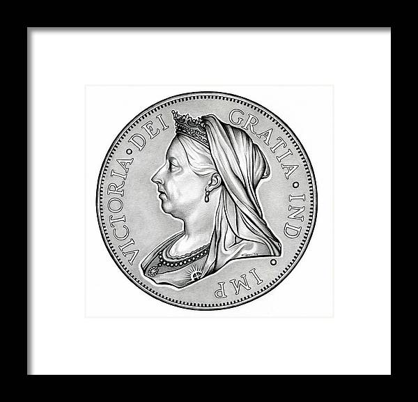 Coin Framed Print featuring the drawing The Queen - Original by Fred Larucci