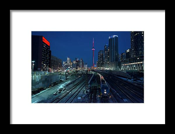 Train Framed Print featuring the photograph The Railway Lands Toronto by This Image