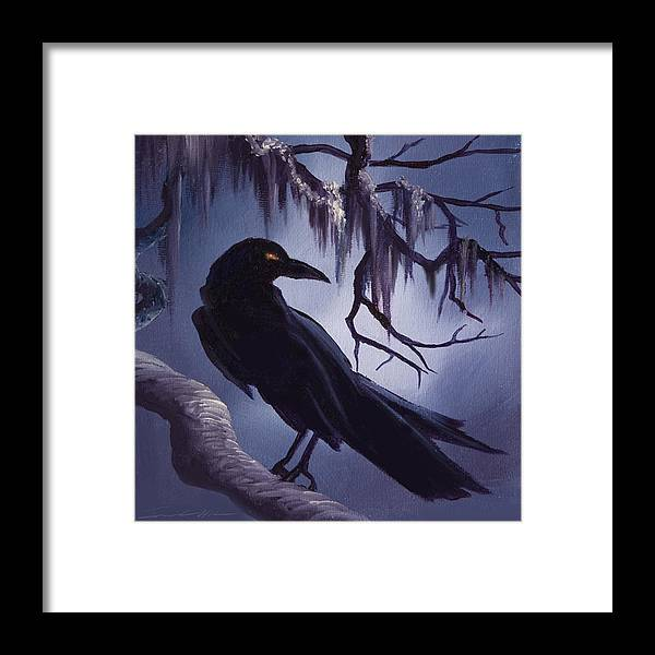 James C. Hill Framed Print featuring the painting The Raven by James Christopher Hill