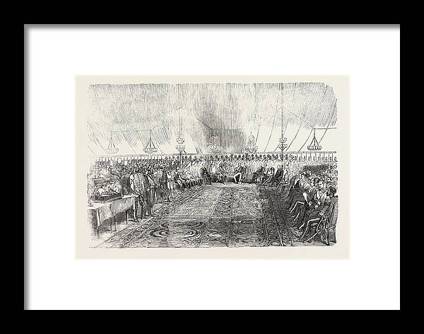 Reception Framed Print featuring the drawing The Reception In Full Durbar, At Wuzeerabad by English School