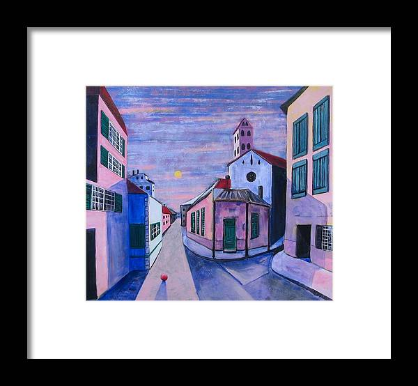 Child Framed Print featuring the painting The Red Ball by Rollin Kocsis