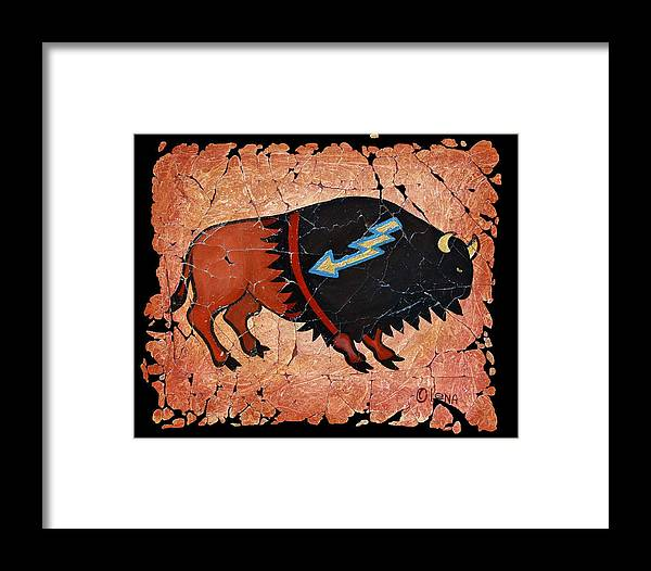 Red Bison Framed Print featuring the painting The Red Buffalo Fresco by Lena Owens OLena Art