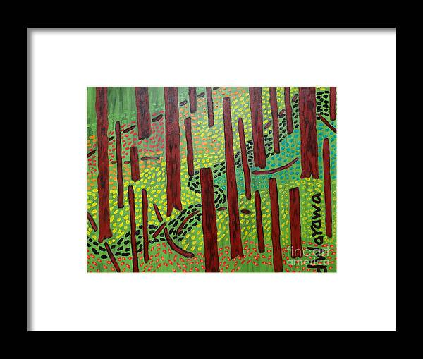 Oil Framed Print featuring the painting The Red Forrest by Douglas W Warawa