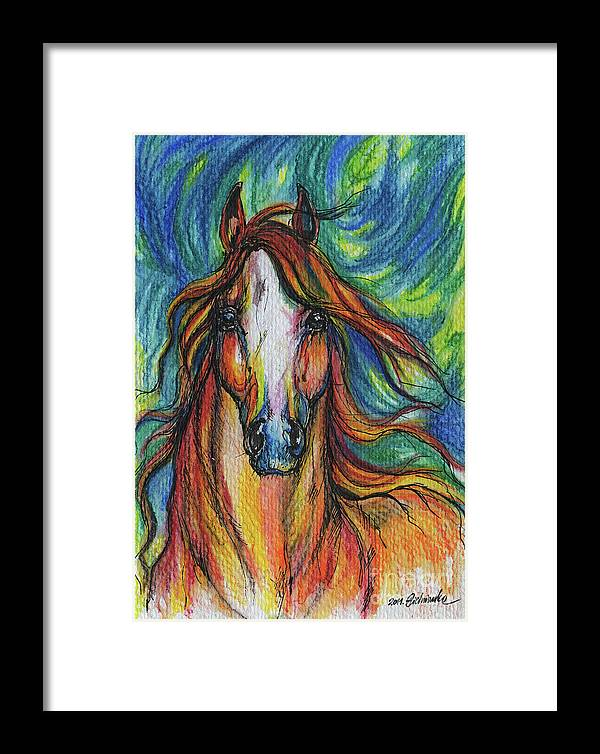 Psychodelic Framed Print featuring the painting The Red Horse by Angel Ciesniarska