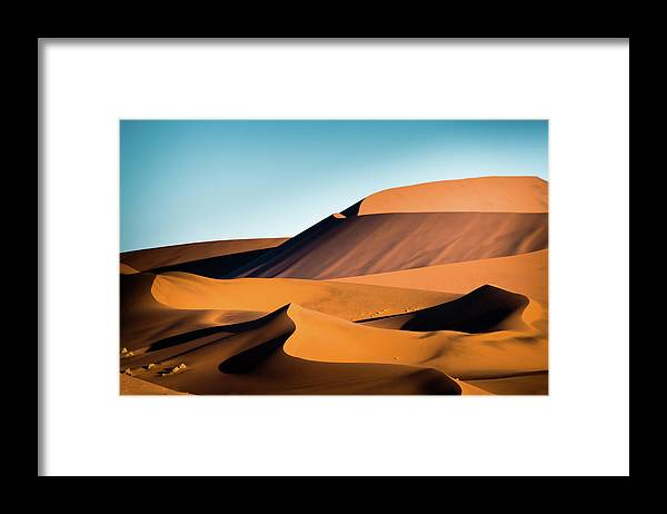 Sand Dune Framed Print featuring the photograph The Red Sand Dunes In Namibia by José Gieskes Fotografie