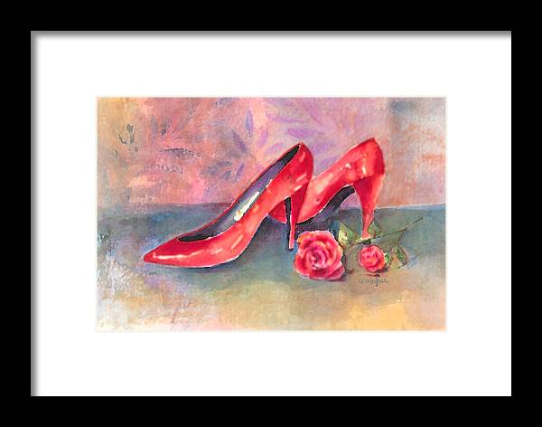 Shoe Framed Print featuring the painting The Red Shoes by Arline Wagner