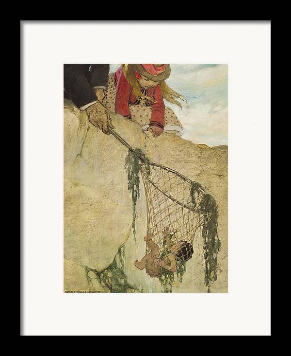 Saved Framed Print featuring the painting The Rescue Circa 1916 by Aged Pixel