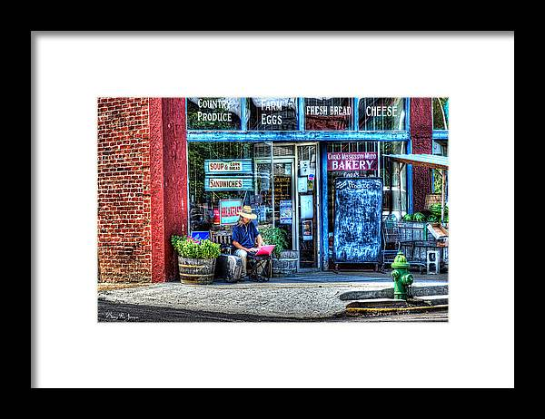 Corner Framed Print featuring the photograph Figure on Bench - The Right Corner by Barry Jones