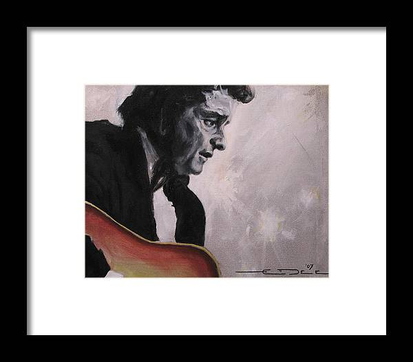 Johnny Cash Framed Print featuring the painting The Ring Of Fire by Eric Dee
