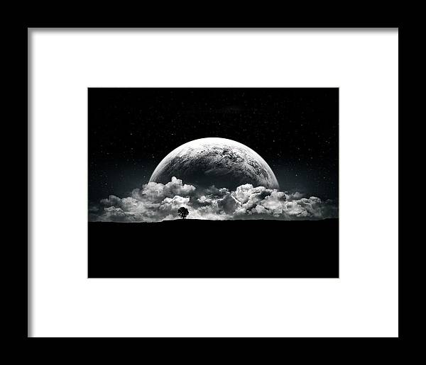 Planet Framed Print featuring the digital art The Rise Of A Planet II by Tobias Roetsch