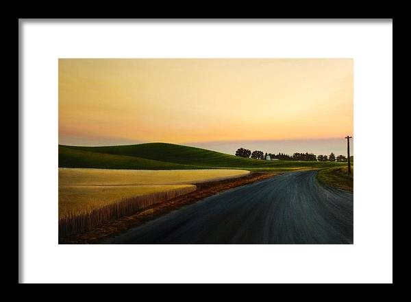 Wheat Framed Print featuring the painting The Road Near Estes by Leonard Heid