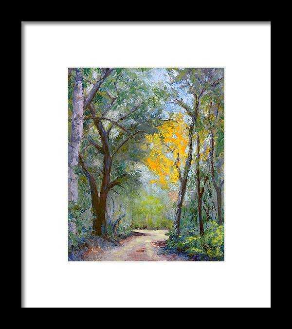 Plein Air Framed Print featuring the painting The Road to Shell Redemption by Cecelia Campbell