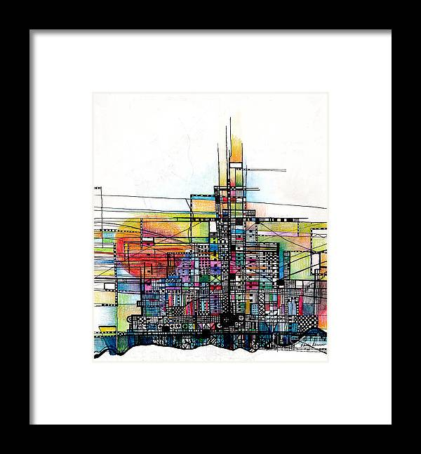 the Rock mont St Michell Abstract setting Sun Abstract christian Abstract i Am The Rock horizontal Vertical Lines Framed Print featuring the drawing The Rock by Andy Mercer
