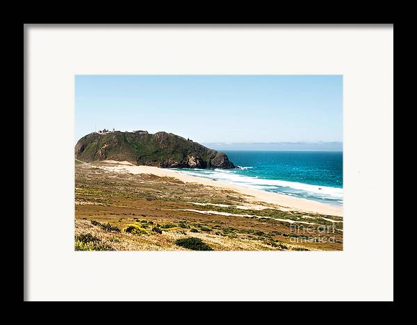 Piedras Blancas Lighthouse Framed Print featuring the photograph The Rock Of Piedras Blancas Lighthouse In San Simeon Ca by Artist and Photographer Laura Wrede