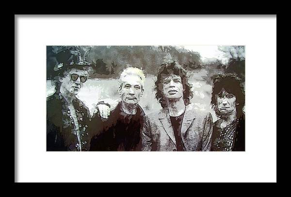 the Rolling Stones Framed Print featuring the digital art The Rolling Stones by Daniel Hagerman