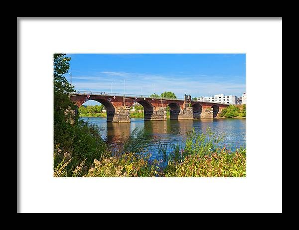 Roman Framed Print featuring the photograph The Roman Bridge Over Mosel River In by Werner Dieterich