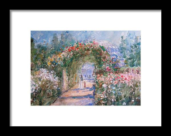 Garden Framed Print featuring the painting The Rose Garden by Malcolm Mason