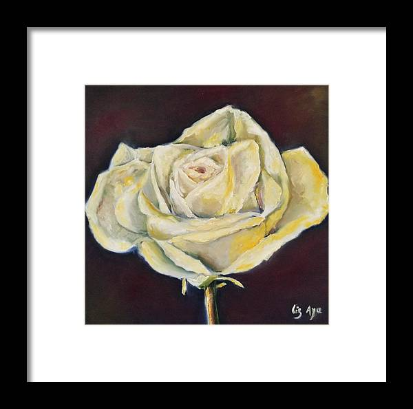 The Framed Print featuring the painting The Rose by Liza Ayach