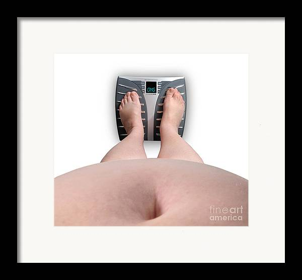 Abdomen Framed Print featuring the photograph The Scale Says Series Omg by Amy Cicconi