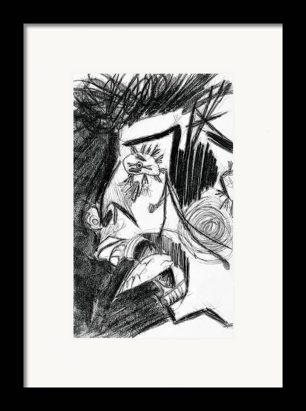 Drawing Framed Print featuring the drawing The Scream - Picasso Study by Michelle Calkins