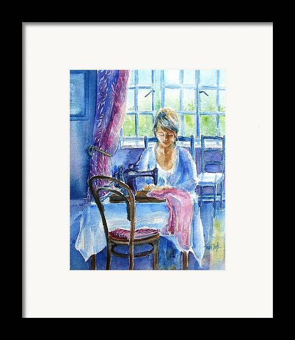 Seamstress Framed Print featuring the painting The Seamstress by Trudi Doyle