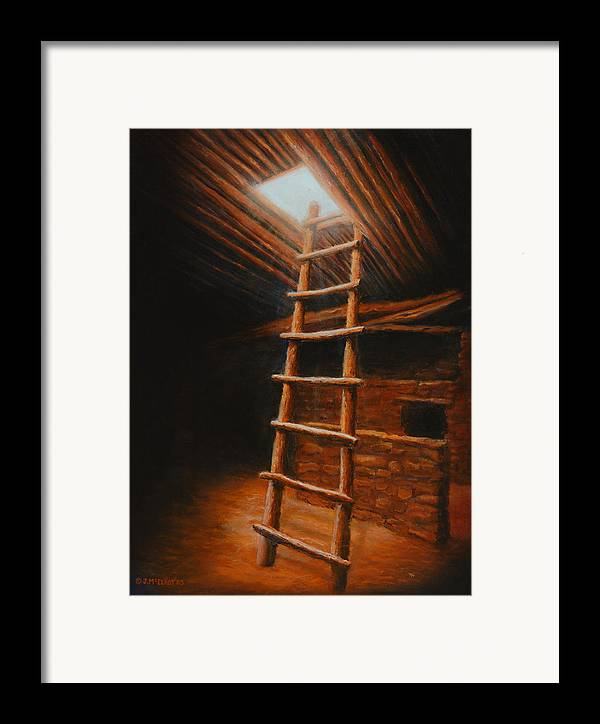 Kiva Framed Print featuring the painting The Second World by Jerry McElroy