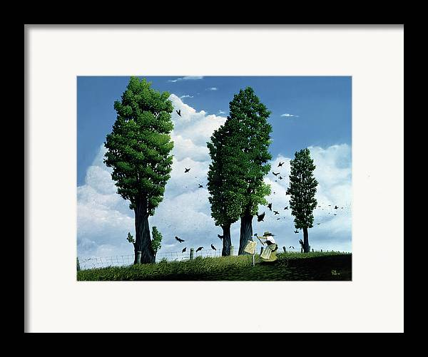 Crows; Axe; Clouds; Fence Framed Print featuring the painting The Seeds by Stephane Poulin