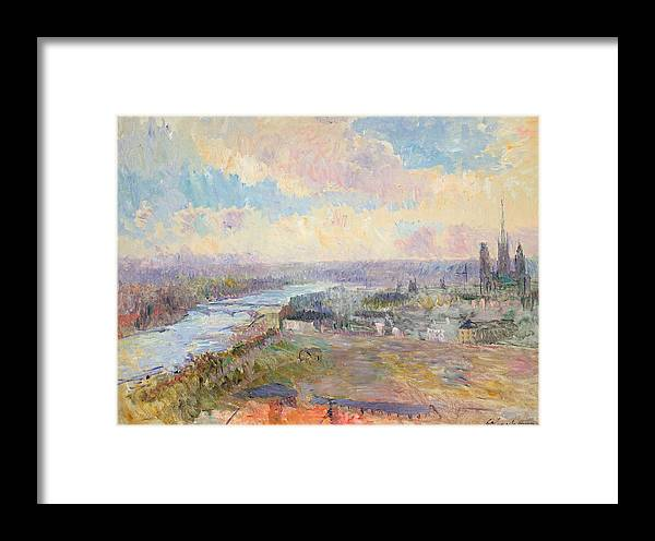 River Framed Print featuring the painting The Seine At Rouen by Albert Charles Lebourg