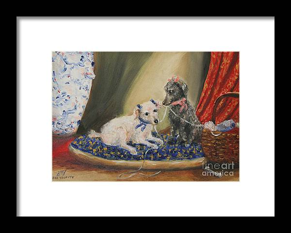 Poodle Framed Print featuring the painting The Sewing Basket- Homeless Poodle Painting Violano by Stella Violano
