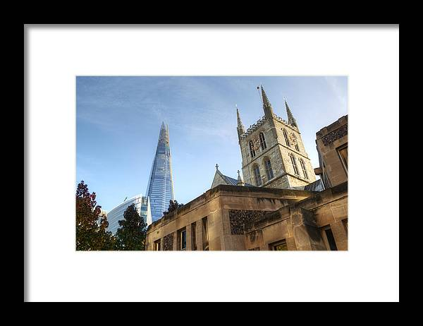 Shard Framed Print featuring the photograph The Shard and Southwark Cathedral by Chris Day