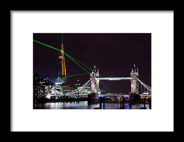 Gothic Style Framed Print featuring the photograph The Shard Skyscraper Opening Laser by Dynasoar