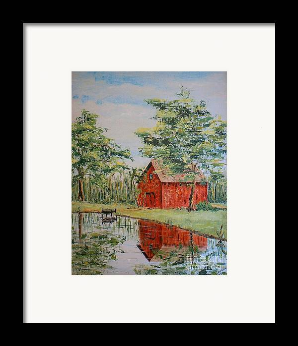 Red Shed Building Framed Print featuring the painting The Shed - Sold by Judith Espinoza
