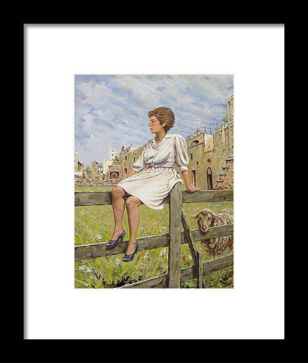 Lady Framed Print featuring the painting The Shepherd by R-A Kaka