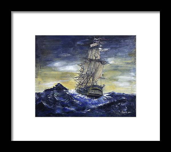 Seascape Framed Print featuring the painting The Ship by Jim Reale