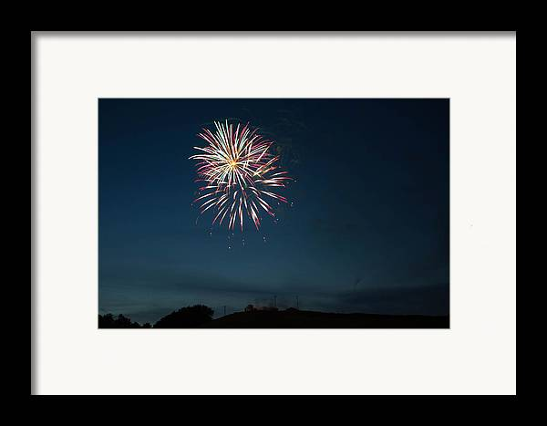 West Virginia Day Framed Print featuring the photograph West Virginia Day Fireworks Show Begins by Howard Tenke