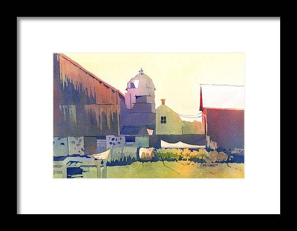 Kris Parins Framed Print featuring the painting The Side Of A Barn by Kris Parins