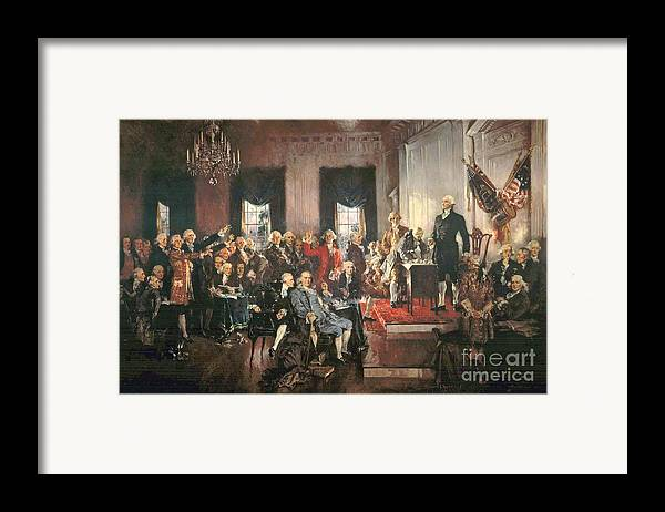 Congress Framed Print featuring the painting The Signing Of The Constitution Of The United States In 1787 by Howard Chandler Christy